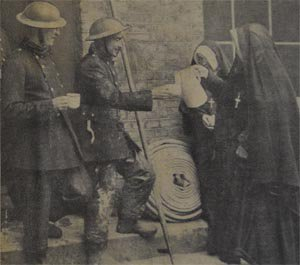 Tea for the fireman after the Convent was bombed during the blitz