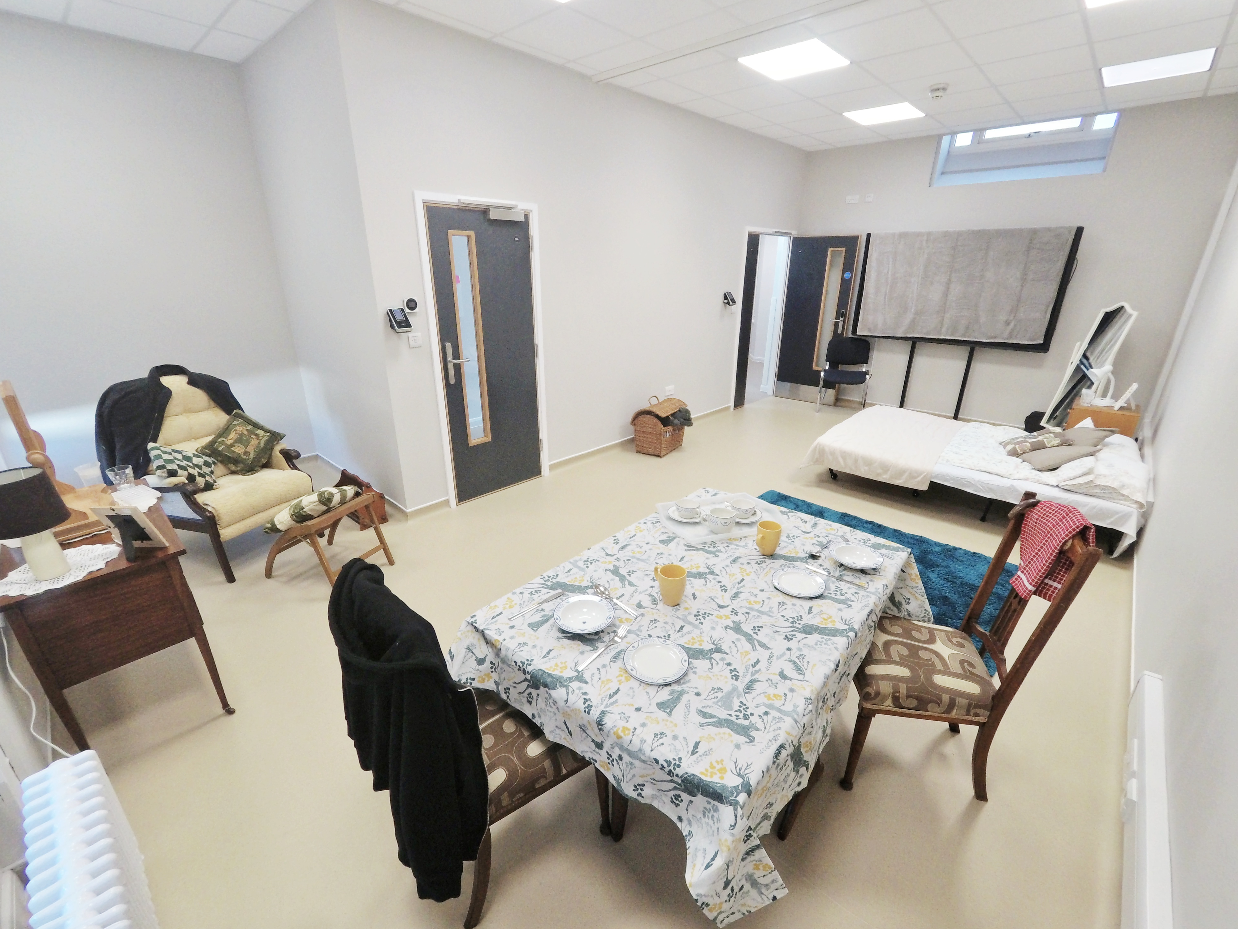 The community rooms set up to resemble a patient's home